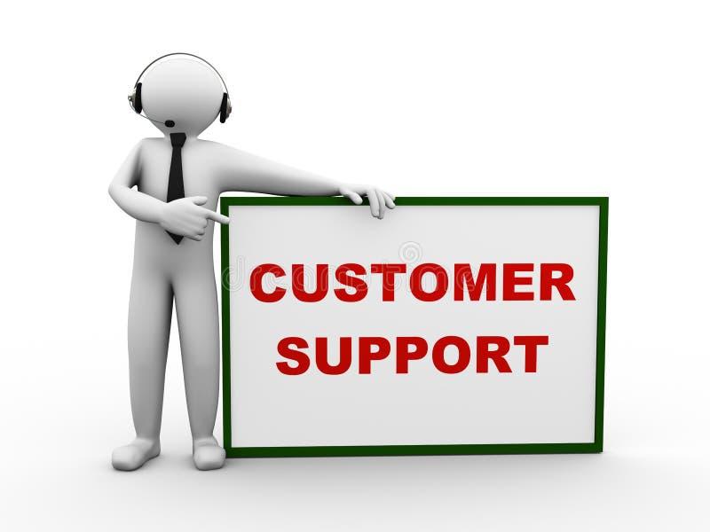 support à la clientèle d'écouteur de l'homme 3d illustration libre de droits