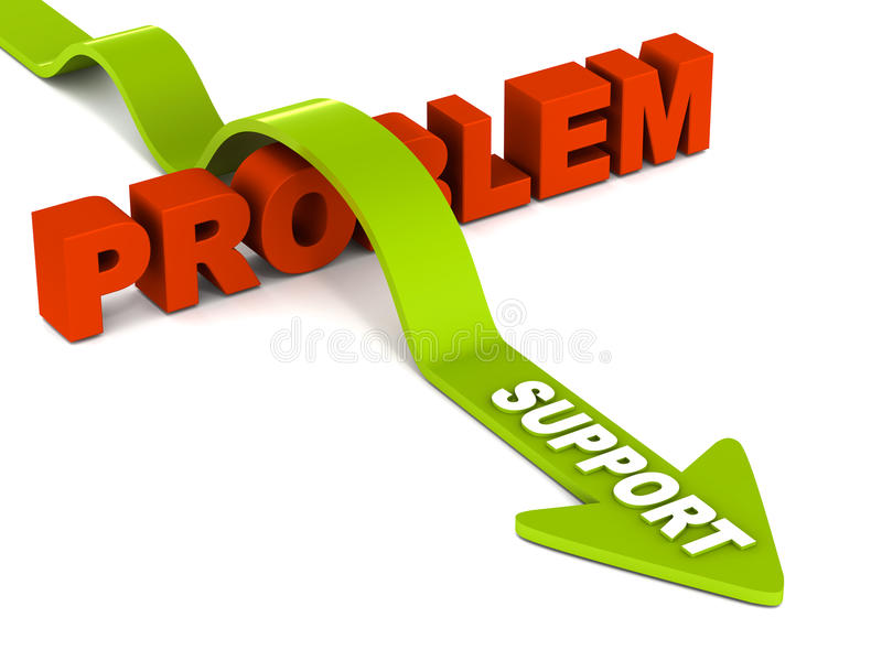 Support. Solution of support to any given problem, concept if professional help in case of any problem or issue stock illustration
