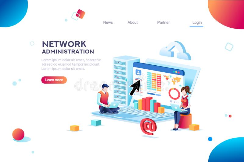 Support and Admin Website Banner stock illustration