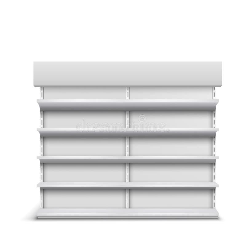 Support avec la maquette réaliste de vecteur d'étagères vides illustration stock