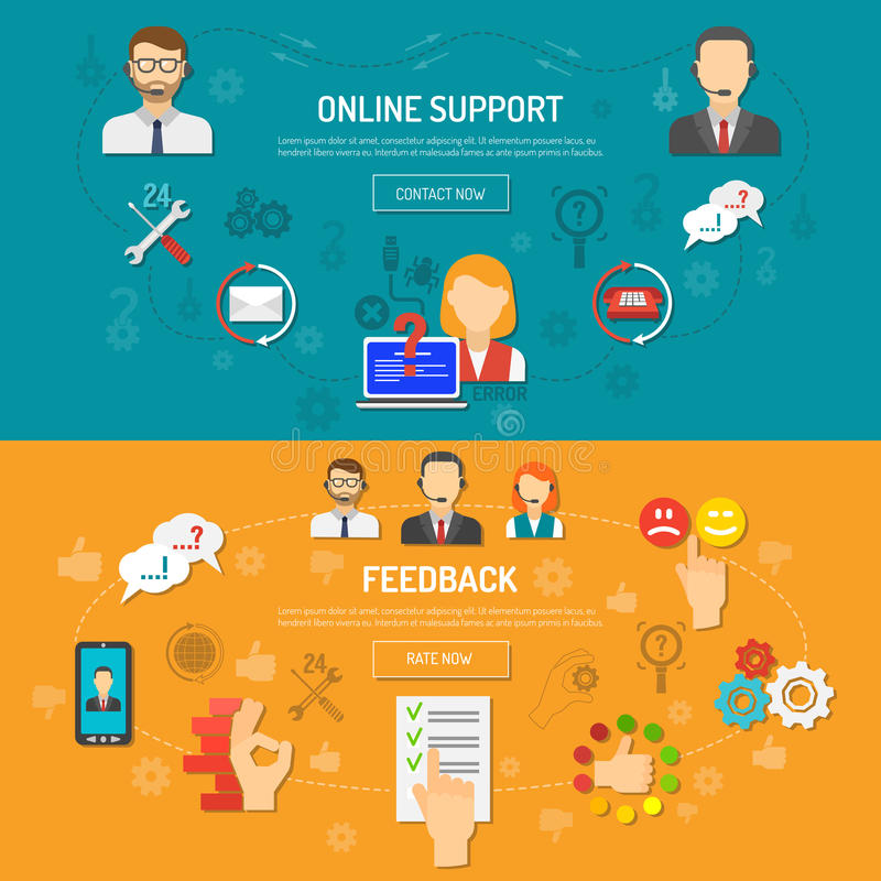 Support Banner Set. Support banner horizontal set with online feedback elements flat isolated vector illustration royalty free illustration