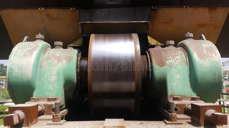 Support bearing housing unit , Preventine maintenance automatic refill grease on the machine stock photos