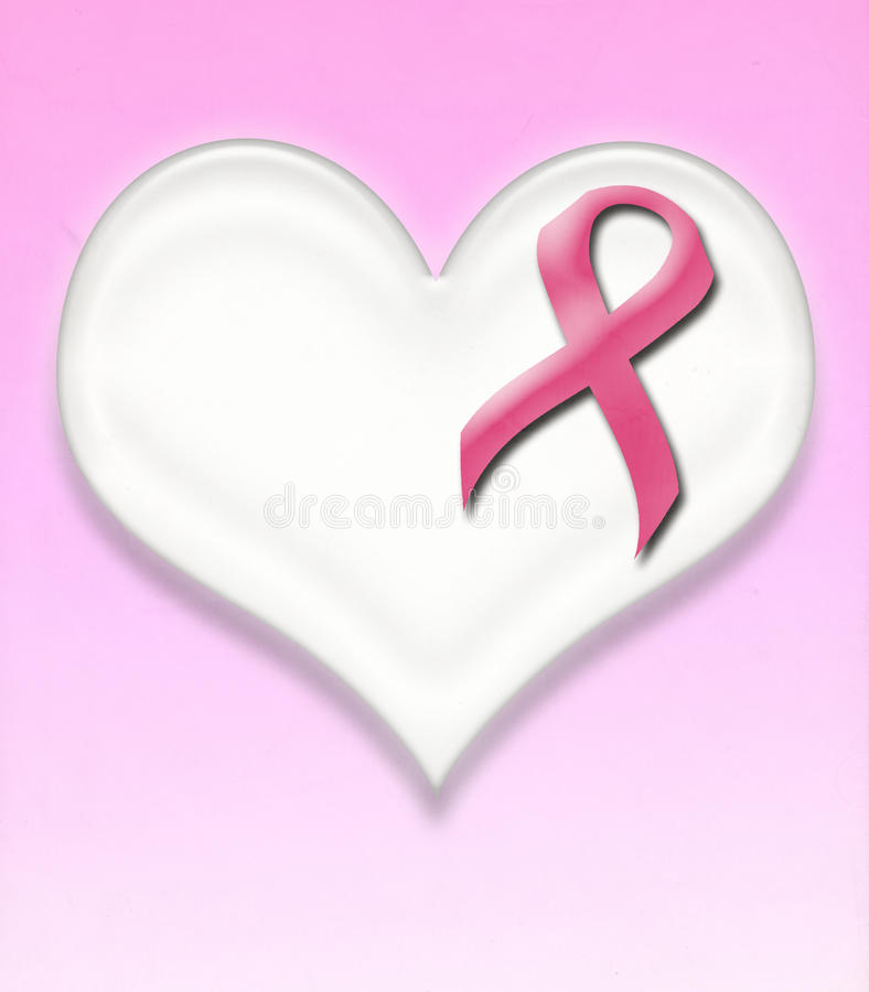 Support breast cancer pink ribbon pin on heart. Support breast cancer pink ribbon pin heart on pink women awareness month heart delicate and pretty royalty free stock photo