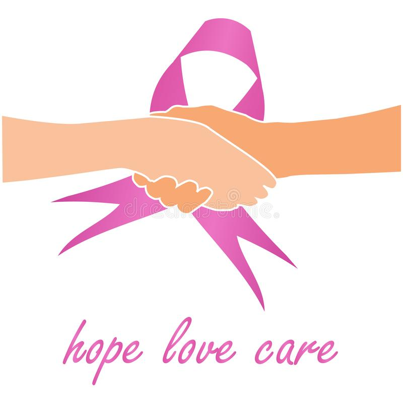 Support for breast cancer sufferers- Pink ribbon with quote. Support for breast cancer sufferers - Pink ribbon with quote royalty free illustration