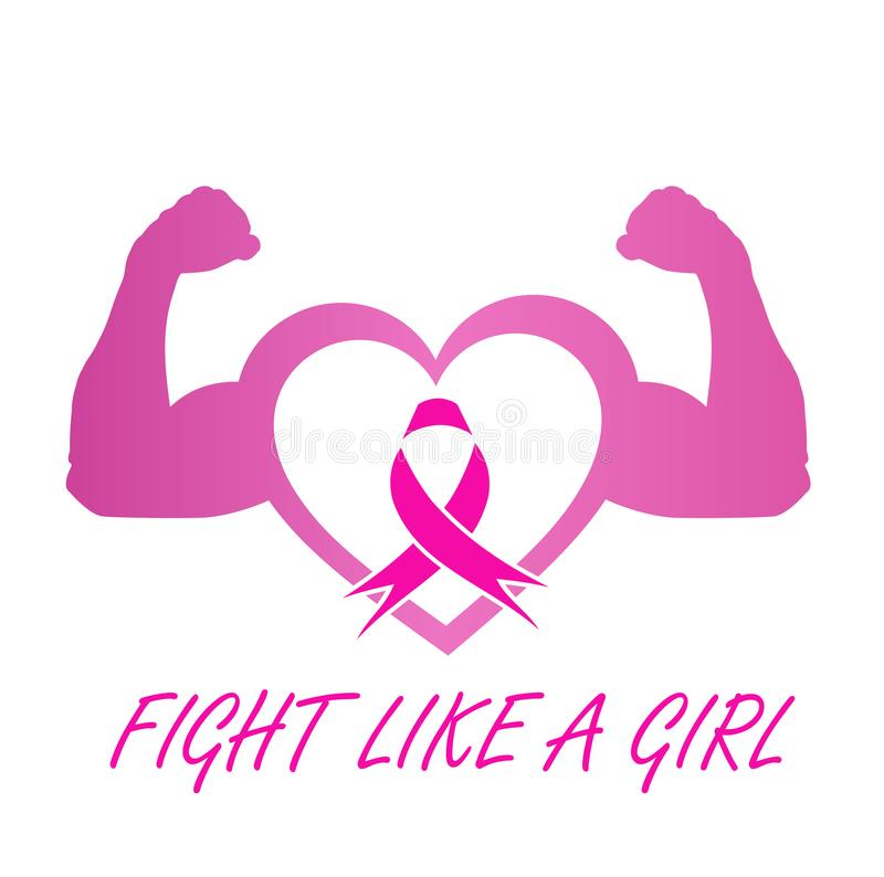 Support for breast cancer sufferers- Pink ribbon with quote. Support for breast cancer sufferers - Pink ribbon with quote stock illustration