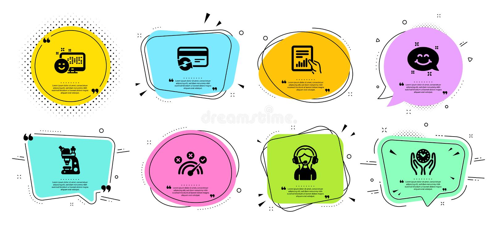Support, Change card and Document icons set. Smile, Smile chat and Safe time signs. Vector. Support, Change card and Document line icons set. Chat bubbles with vector illustration