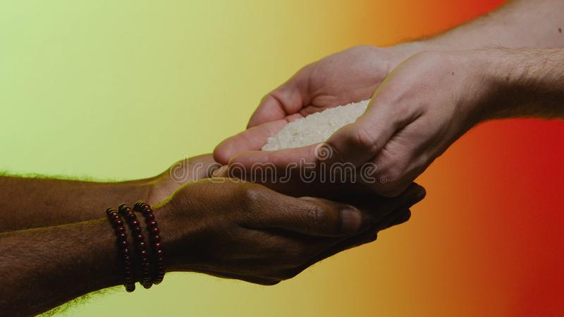 Support concept. Stock. Empathy, compassion, help, kindness. Humanitarian assistance to African countries. Hands pour. Rice into the hands of a black man stock photography