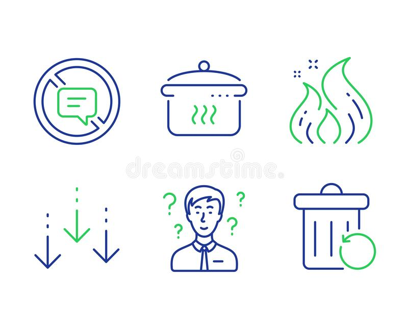 Support consultant, Boiling pan and Fire energy icons set. Scroll down, Stop talking and Recovery trash signs. Vector. Support consultant, Boiling pan and Fire stock illustration