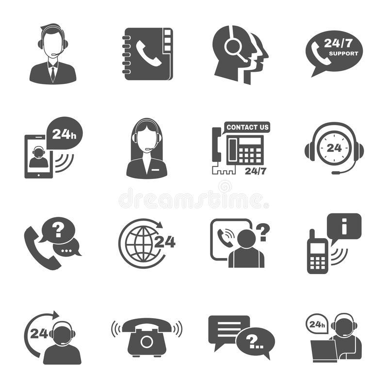 Support contact call center icons set. Contact us 24h support global worldwide information service black icons set with helpdesk operator vector isolated vector illustration