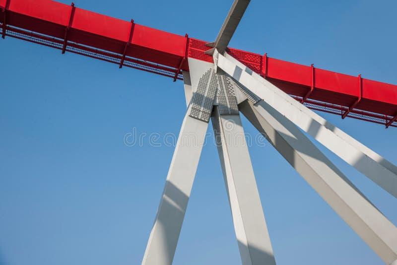 Support of curved steel girder of Chongqing Chaotianmen Yangtze River Bridge. Chaotianmen Yangtze River Bridge is located in the upper reaches of the Yangtze stock photo