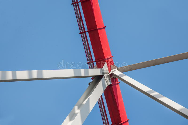 Support of curved steel girder of Chongqing Chaotianmen Yangtze River Bridge. Chaotianmen Yangtze River Bridge is located in the upper reaches of the Yangtze stock photography