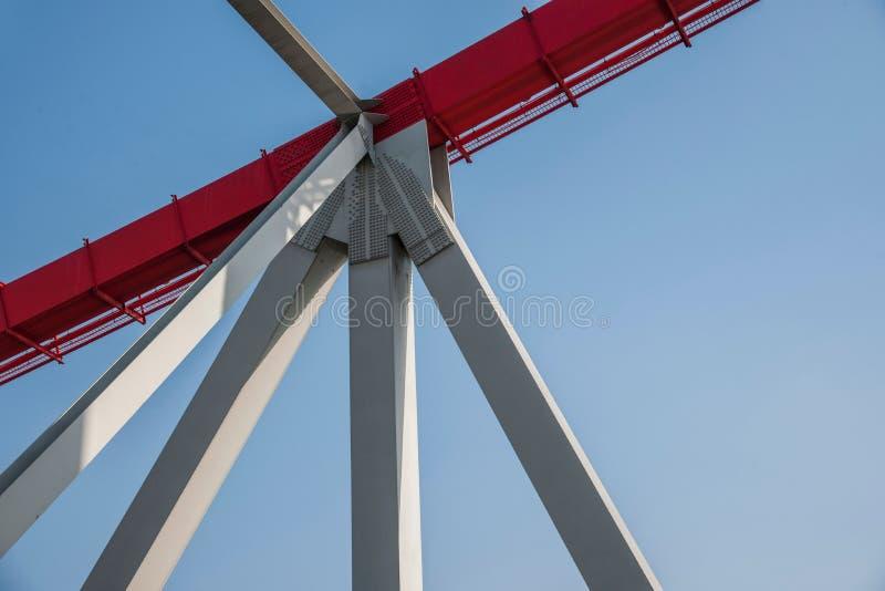 Support of curved steel girder of Chongqing Chaotianmen Yangtze River Bridge. Chaotianmen Yangtze River Bridge is located in the upper reaches of the Yangtze stock photos