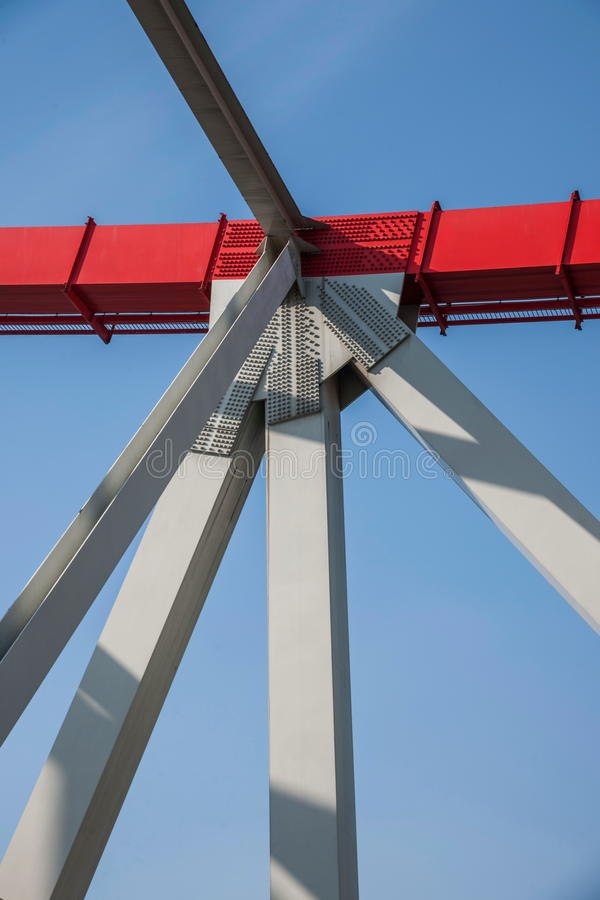 Support of curved steel girder of Chongqing Chaotianmen Yangtze River Bridge. Chaotianmen Yangtze River Bridge is located in the upper reaches of the Yangtze stock image