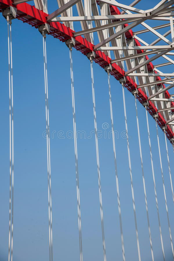 Support of curved steel girder of Chongqing Chaotianmen Yangtze River Bridge. Chaotianmen Yangtze River Bridge is located in the upper reaches of the Yangtze stock images