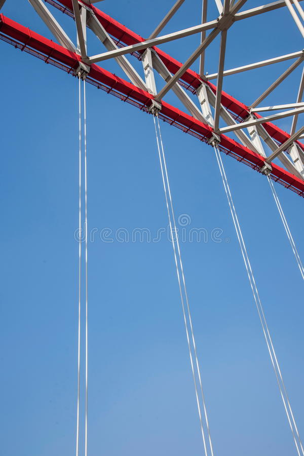 Support of curved steel girder of Chongqing Chaotianmen Yangtze River Bridge. Chaotianmen Yangtze River Bridge is located in the upper reaches of the Yangtze royalty free stock photography