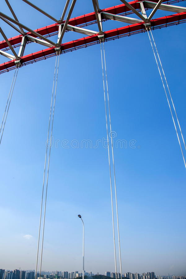 Support of curved steel girder of Chongqing Chaotianmen Yangtze River Bridge. Chaotianmen Yangtze River Bridge is located in the upper reaches of the Yangtze royalty free stock photo