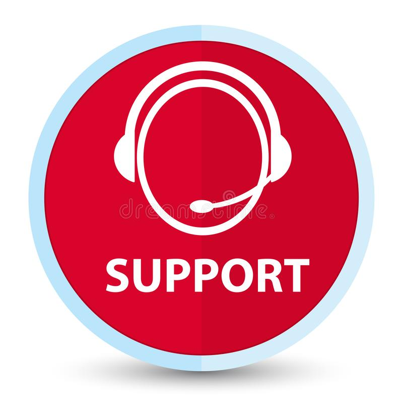 Support (customer care icon) flat prime red round button. Support (customer care icon) isolated on flat prime red round button abstract illustration royalty free illustration