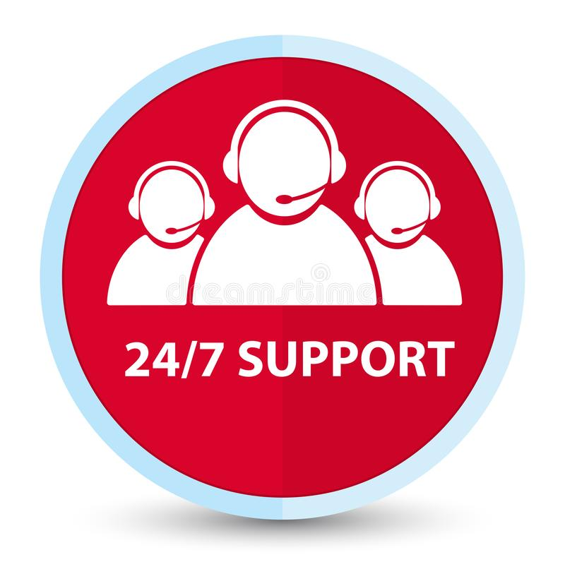 24/7 Support (customer care team icon) flat prime red round button. 24/7 Support (customer care team icon) isolated on flat prime red round button abstract stock illustration