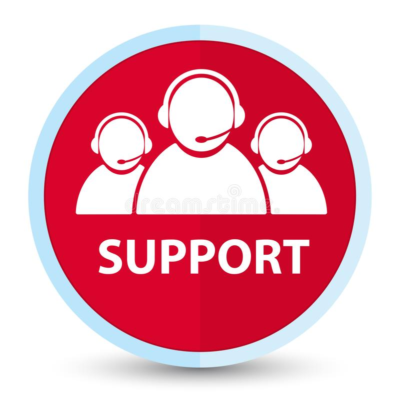 Support (customer care team icon) flat prime red round button. Support (customer care team icon) isolated on flat prime red round button abstract illustration vector illustration