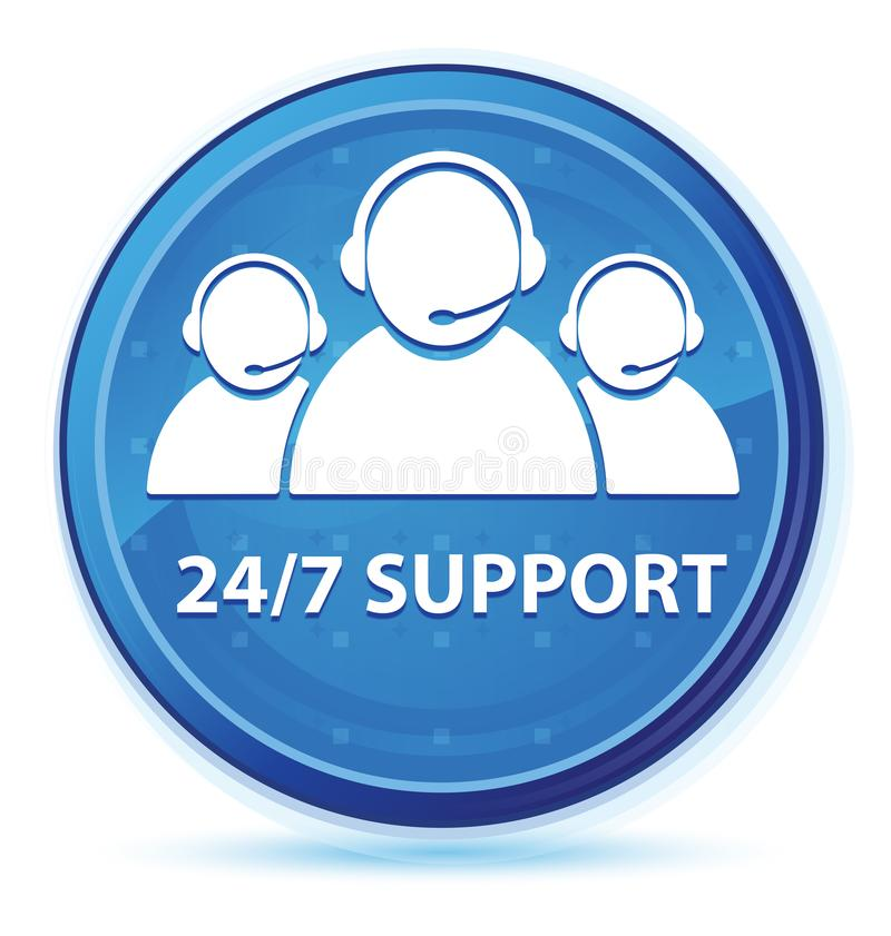 24/7 Support (customer care team icon) midnight blue prime round button. 24/7 Support (customer care team icon) isolated on midnight blue prime round button stock illustration