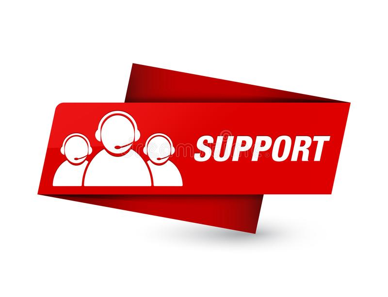 Support (customer care team icon) premium red tag sign. Support (customer care team icon) isolated on premium red tag sign abstract illustration vector illustration