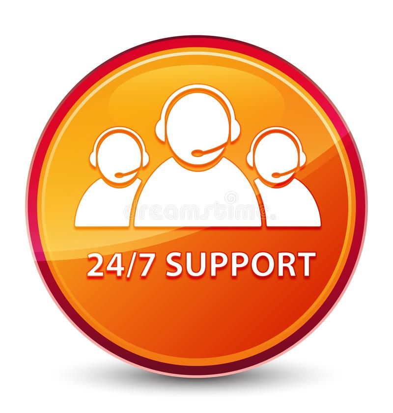 24/7 Support (customer care team icon) special glassy orange round button. 24/7 Support (customer care team icon) isolated on special glassy orange round button royalty free illustration
