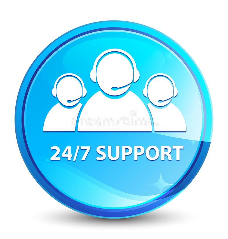 24/7 Support (customer care team icon) splash natural blue round button. 24/7 Support (customer care team icon) isolated on splash natural blue round button royalty free illustration