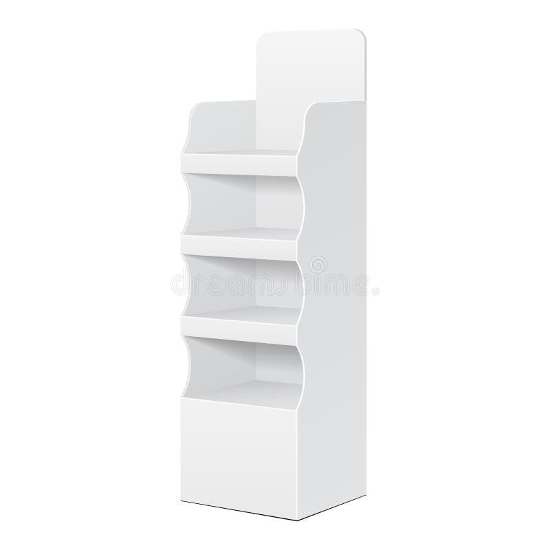 Support d'affichage bilatéral de plancher de carton de la position POI de blanc pour les affichages vides de blanc de supermarché illustration stock
