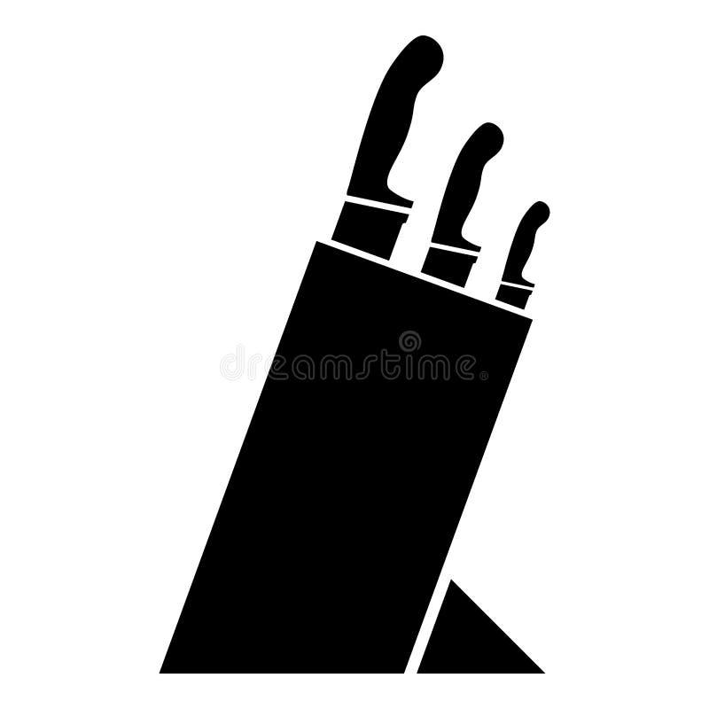 Support d'ensemble de couteaux de support de couteau d'ensemble de couteau pour l'image plate de style de couleur d'icône de cout illustration libre de droits