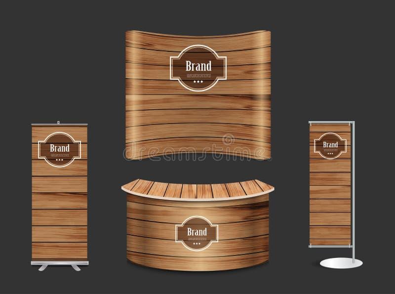 Support d'exposition de cabine de salon commercial de vecteur avec la texture en bois illustration stock