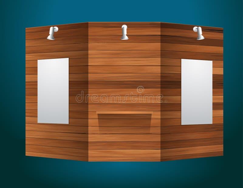 Support d'exposition de vecteur avec la texture en bois illustration stock