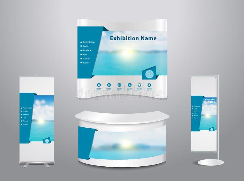 Support d'exposition de vecteur avec le fond bleu de mer illustration stock