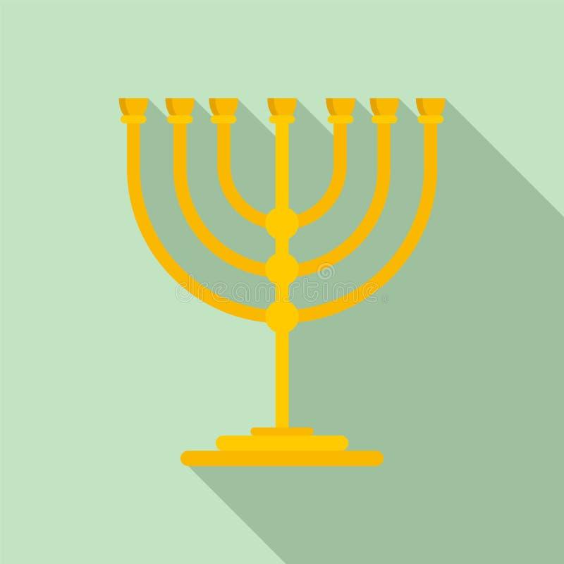Support d'or pour l'icône de bougie, style plat illustration de vecteur