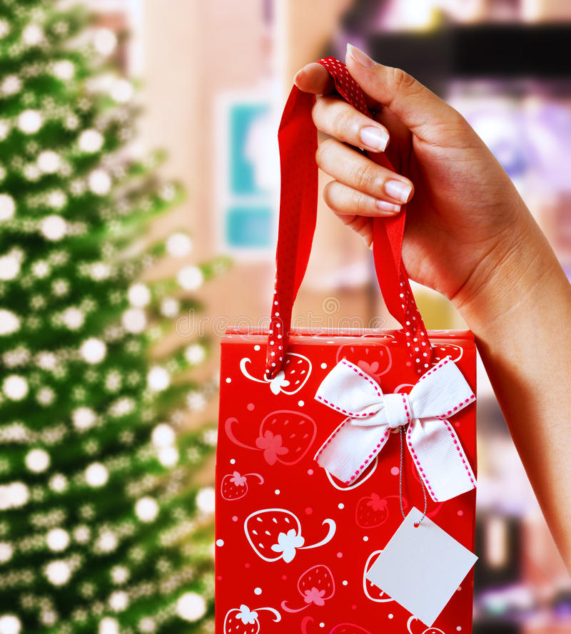 Support d'un cadeau de Noël photos libres de droits