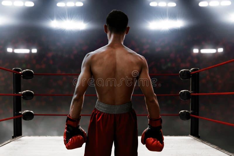Support de boxeur sur l'anneau images libres de droits