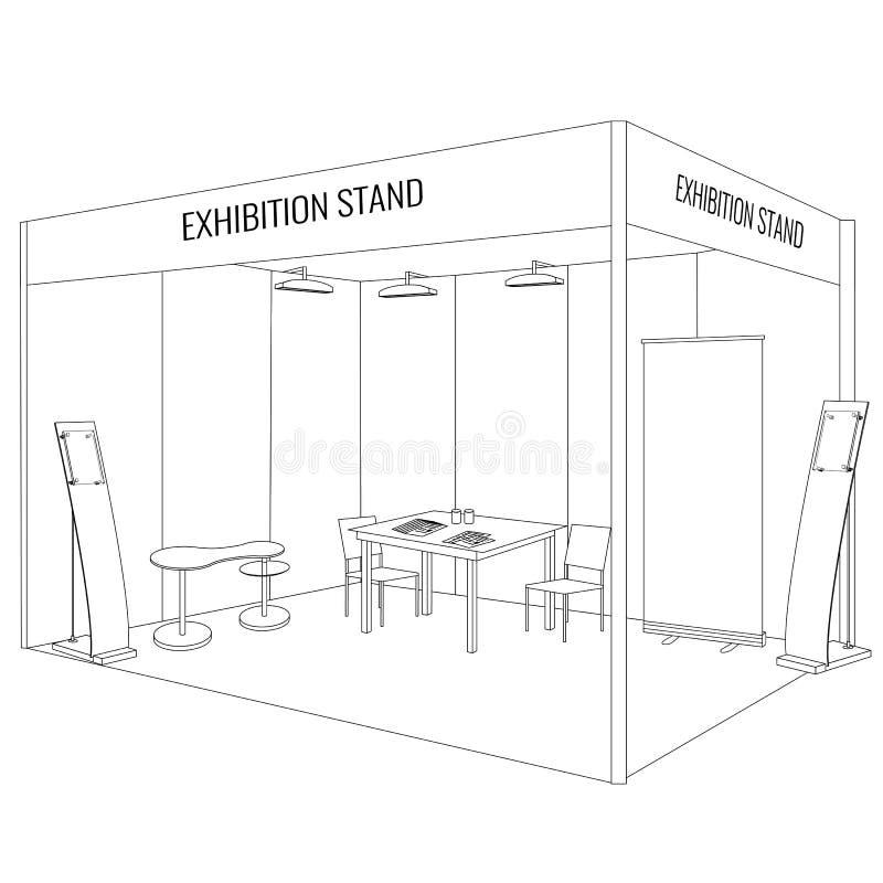 Support de cabine d'exposition du commerce de blanc de vecteur Style à la mode d'ensemble illustration libre de droits