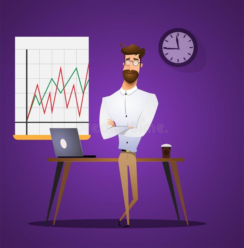 Support de directeur ou d'homme d'affaires près de table illustration de vecteur