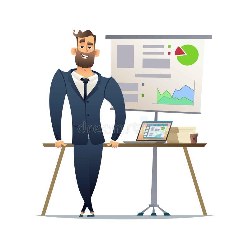Support de directeur ou d'homme d'affaires près de table Directeur général prêt pour la présentation Le concept du rapport financ illustration stock