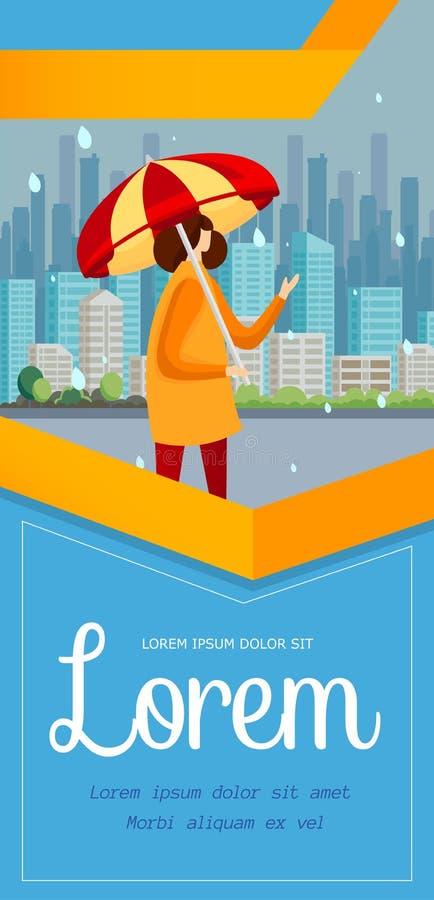 Support de fille sur la rue avec le parapluie dans le jour pluvieux illustration de vecteur