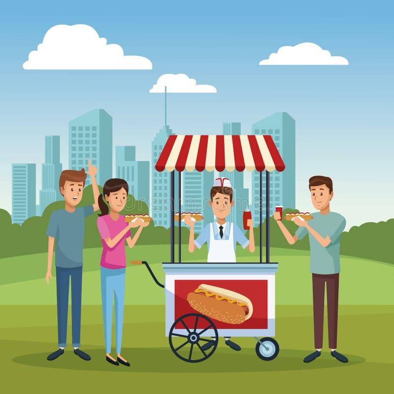 Support de hot-dog à la ville illustration libre de droits