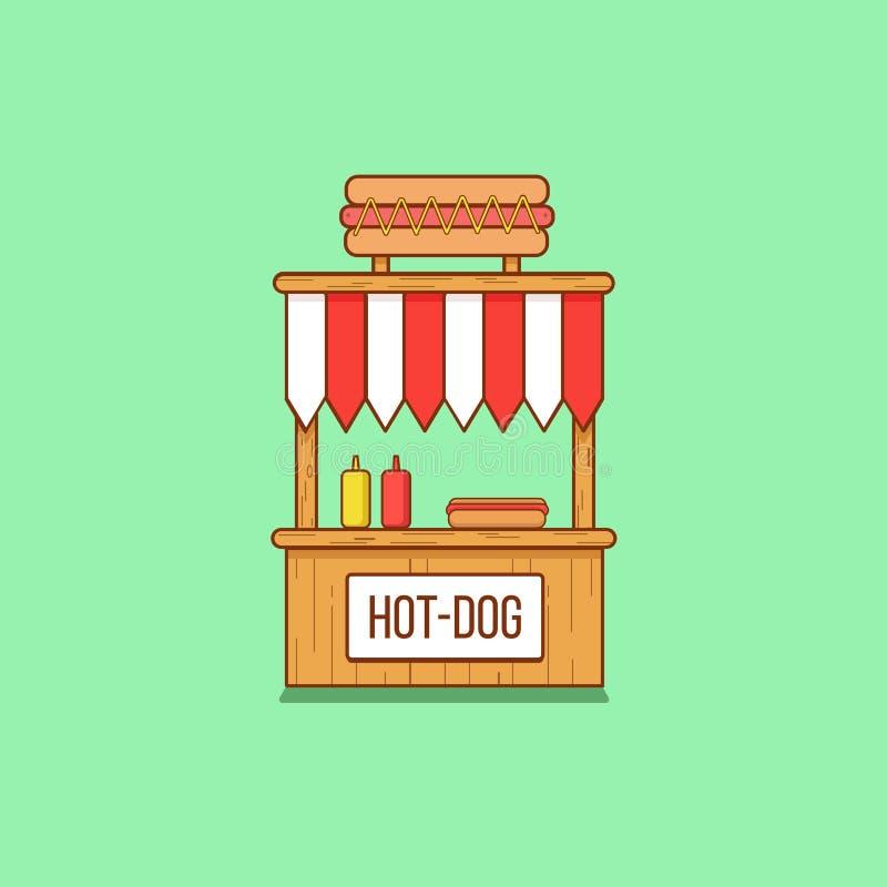 Support de hot-dog dans le style plat illustration libre de droits
