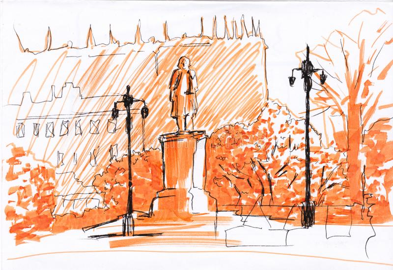 Support de monument avec des lanternes en parc Carte postale de vue de rue Marqueurs et techniques de revêtement Illustration gra illustration stock