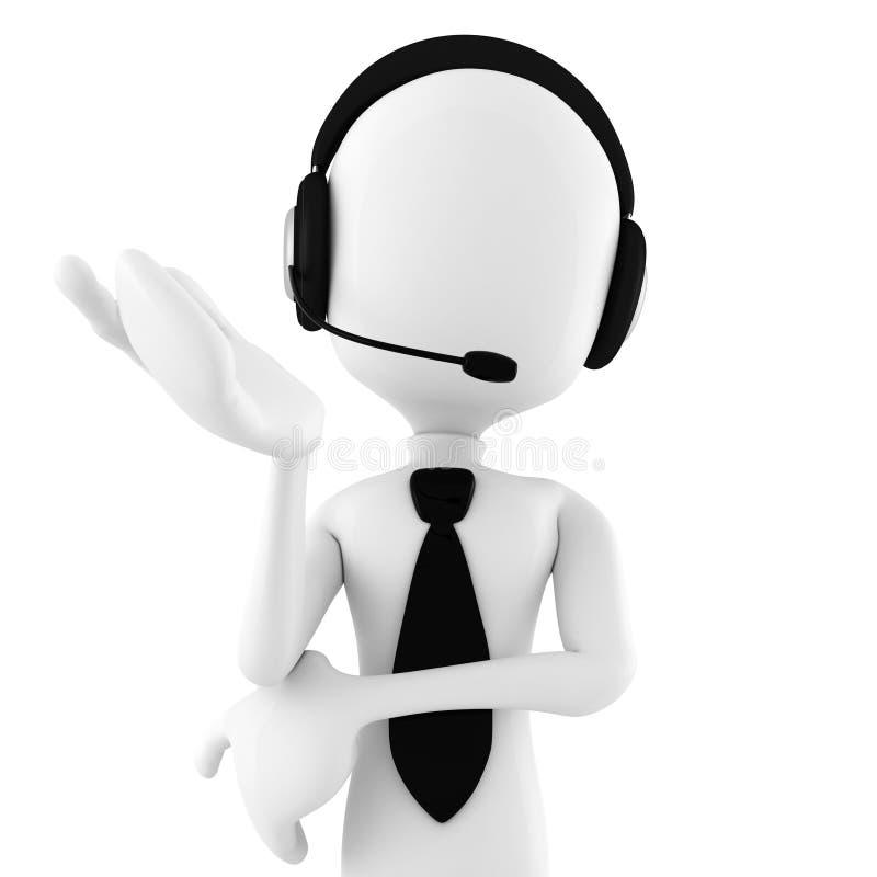 support de offre de centre d'attention téléphonique de l'homme 3d illustration stock