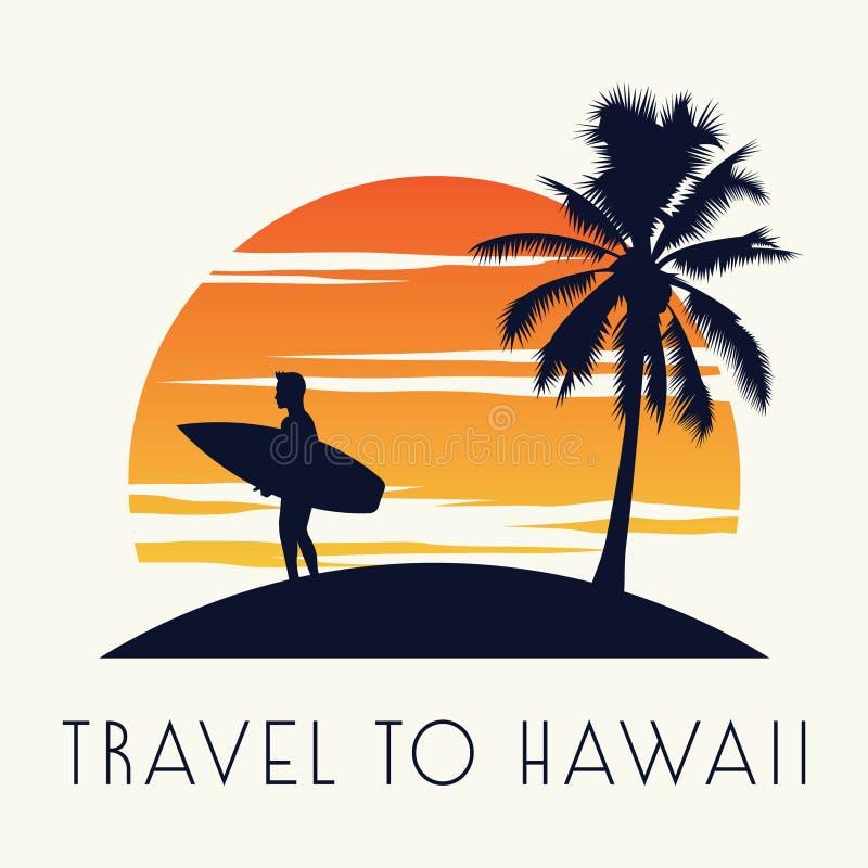 Support de panneau de ressac de prise d'homme sur le palmier voisin d'île, sur le temps de coucher du soleil, le cru et la couleu illustration stock