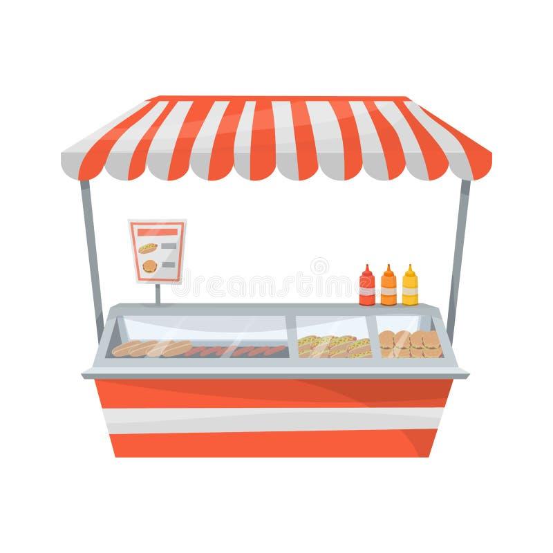 Support de rue de hot-dog illustration stock