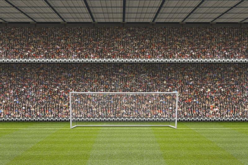 Support de stade de football avec la foule, poteaux de but images libres de droits
