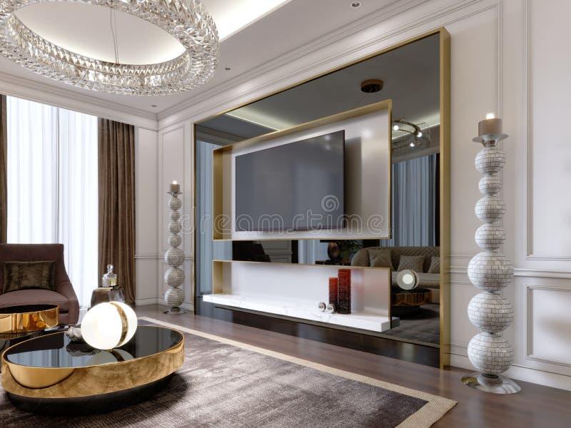 Support de TV dans le salon de suite avec la TV dans le grand cadre noir brillant avec de grands chandeliers près, appartement mo illustration stock