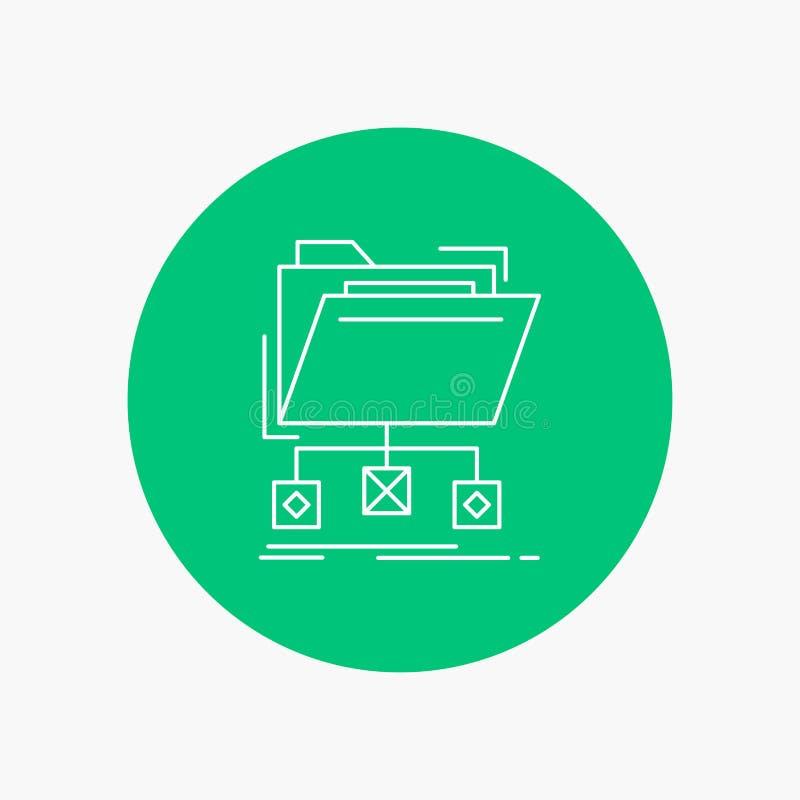 support, données, dossiers, dossier, ligne blanche icône de réseau à l'arrière-plan de cercle Illustration d'ic?ne de vecteur illustration de vecteur