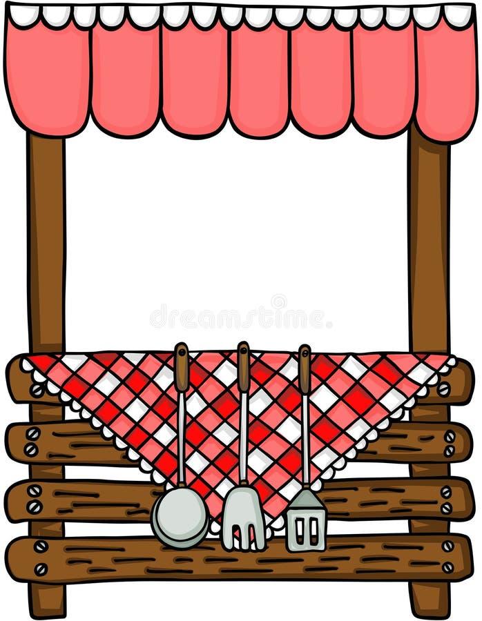 Support en bois avec des batteries de cuisine de cuisine illustration de vecteur