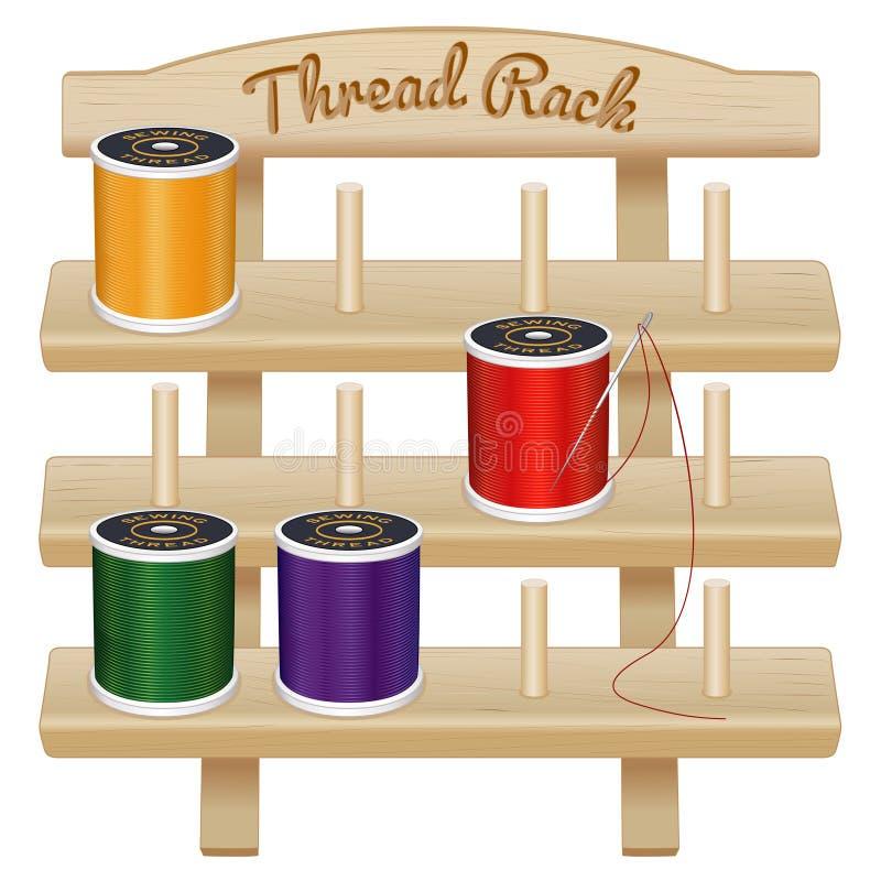 Support en bois de stockage de fil de couture illustration de vecteur